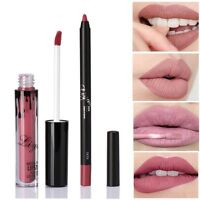Long Lasting Matte Lipstick Liquid Pencil Lip Gloss Liner Pen waterproof Makeup
