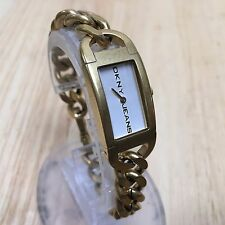 DKNY Jeans Lady Gold Tone Rectangle Thick China Quartz Watch Hours~New Battery