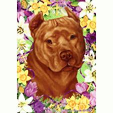 Easter House Flag - Orange American Pit Bull Terrier 33406