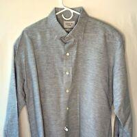 Ledbury Men's XXL Slim Fit LS  Button Front Blue Linen Cotton Blend Shirt