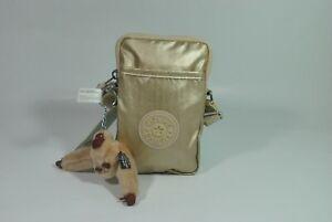 New With Tag Kipling TALLY Mini Crossbody Phone Bag KI0272 -Starry Gold Metallic