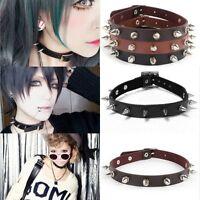 Punk Women Gothic Leather Choker Heart Chain Spike Rivet Buckle Collar Necklace