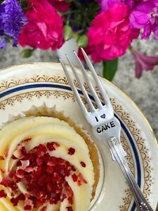 """I 'Heart"""" Cake - Vintage Upcycled Silver Plated Fork - Cake, Cup Cake Lover Gift"""