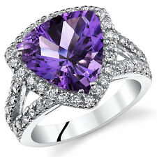 3.75Ct Genuine Trillion Amethyst Sterling Silver Ring Sizes 5 to 9 SR11050