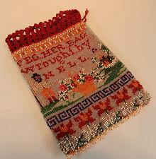 Perlenbeutel Perlentasche antik 1914 Schrift Mann Frau Rosen Korb Baum 21,5cm