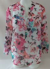 Apt.9 Water Color Layered White Tank Tab Sleeves Top Size M