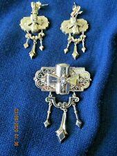 Etruscan Revival Brooch Earrings Dangling Victorian set Gold Filled Antique Er's