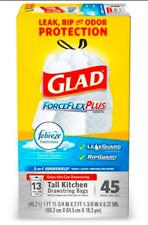 Glad ForceFlex PLUS 13 gal. Kitchen FEBREZE Trash Bags 45pk Drawstring