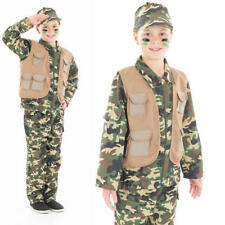 Kids Desert Army Boy Fancy Dress Costume Camouflage Soldier Outfit 10-12 Yrs
