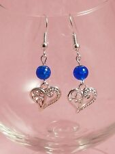 40mm Drop Heart Charm and Beaded  Earrings