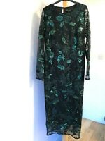 DEBENHAMS DEBUT BOTTLE GREEN SEQUIN LEAF MESH MAXI BODYCON UK 14 BNWT RRP £79