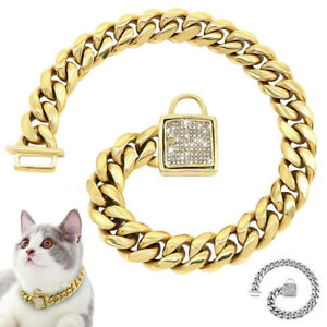 Gold Pet Cat Chain Collar Necklace Diamond Luxury Choker Heavy Duty Metal Collar