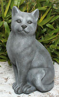Steinfigur Katze groß Schiefergrau frostfest Gartendeko Gartenfigur Dekofigur