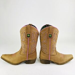 John Deere Girls Youth Size 5.5 M Brown Pink Leather Western Cowboy Boots JD3244