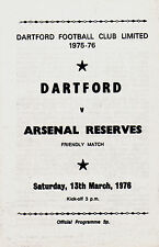 1975/76 Dartford v Arsenal Reserves, friendly, PERFECT CONDITION