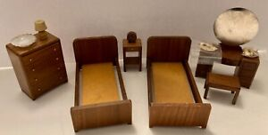 Vtg Dollhouse Miniature 6-Pieces + Wood Bedroom -Strombecker/Forbes/Other 1940's