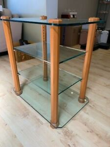 STANDS UNIQUE 4 SHELF STAND - WOOD LEGS CLEAR GLASS SHELVES