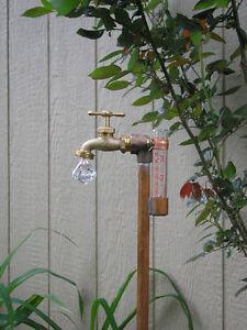 Rain Gauge copper & brass lawn & garden Holiday / Birthday Day Gift GEM