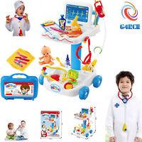Kids Hospital Doctor Nurse Medical Trolley Role Play set Toy Birthday XMAS Gift
