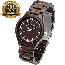 Original TruWood Watch Brown Wooden Strap 12 Hour Dial Men's Wrist Watch