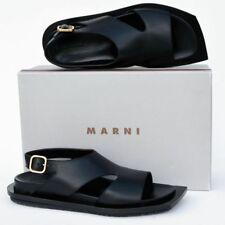 MARNI New sz 41 - 11 $770 Auth Designer Womens Flats Shoes Slides Sandals black
