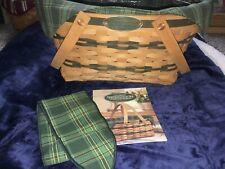 Longaberger Community Traditions Basket Plastic Insert Green Plaid Liner Handle