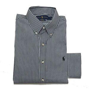 Ralph Lauren Mens Stretchable Shirt Classic Fit Performance White Grey Stripe M