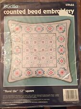 Floral Tile Counted Bead Embroidery Square Bucilla NEW Kit