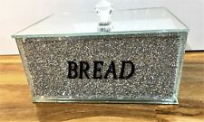Silver Crushed Diamond Crystal Mirrored Bread Bin Container Kitchen Bling, Home