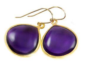 Amethyst Earrings Deep Rich Purple Smooth Sim Simple Dangle Bezel Teardrop 14k