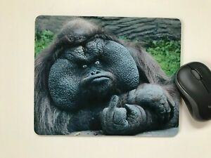 Mouse Mat Pad desktop laptop office Funny Rude Ape choose size made in UK