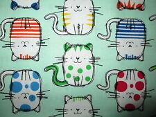 FAT CATS BRIGHT COLORS CAT MINT GREEN COTTON FABRIC FQ