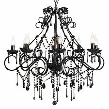 Vintage chandelier ebay large vintage chandelier 8 light shabby black crystals and beads florence new mozeypictures Choice Image