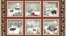 Rustic Charm 2 ply Flannel By The panel 24.5 x43inches Moose Winter Block Scenes