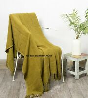 Indian Mud cloth Bed Sofa Throw Green Solid Print Cosy Fringed Blanket Bedding
