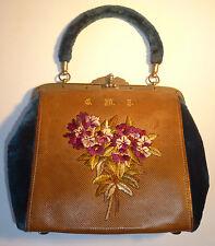 Vintage Antiguo Bolso De Mano Cartera Bolso en miniatura terciopelo bordado iniciales