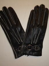 Ladies Genuine Leather Driving Gloves,Large, Black