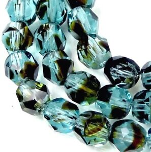 25 Firepolish Czech glass Faceted Round Beads - Teal Tortoise 6mm