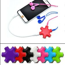 6 Way 3.5MM Audio Splitter Multi Hub Headphone Cable Adapter For iPhone iPod MP3
