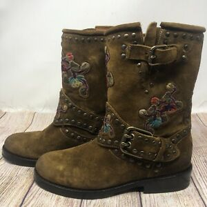 $190 Frye Womens Nat Flower Engineer Mid Calf Boots Suede Floral Studded Sz 6.5B