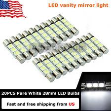 20x Cool White 28mm 3SMD 6614F LED Bulbs For Car Sun Visor Vanity Mirror Light