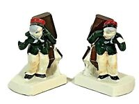 Antique Japanese bookends bell hops with luggage white porcelain 6 x 4 x 3 cute