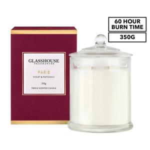 Glasshouse Fragrances Triple Scented Candle 350g Paris Violet & Patchouli 60 Hr