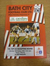 10/10/1992 Bath City v Weymouth [FA Cup] . If this item has any faults they shou