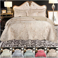 Luxury Bedspread Quilted Bed Throw with Pillow Shams Double & King Size Bedding