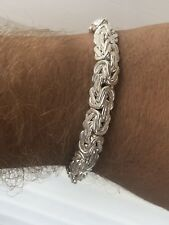 Mens Custom Chainmaille Byzantine Link Bracelet Solid 925 Sterling Silver 8.5""