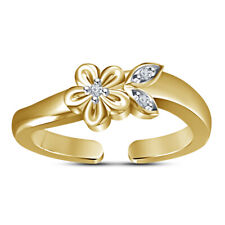 Round Cut D/Vvs1 Diamond Flower Leaf Adjustable Toe Ring 14K Yellow Gold Finish