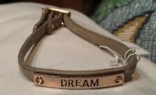 BCBGeneration DREAM Leather Suede Strap Adjustable Bracelet, Gray Goldtone NWT