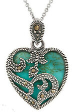 925 Sterling Silver Marcasite Turquoise Heart Necklace Pendant