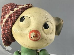 """10"""" Antique Composition And Wood Pete The Pup Doll Original Hat!"""